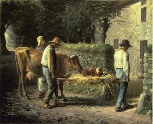 Jean-François Millet - Peasants Bringing Home a Calf Born in the Fields
