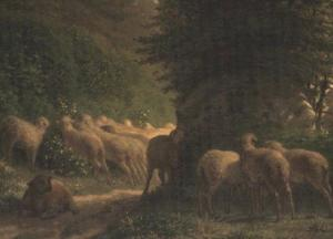 Jean-François Millet - Sheep grazing along a hedgerow