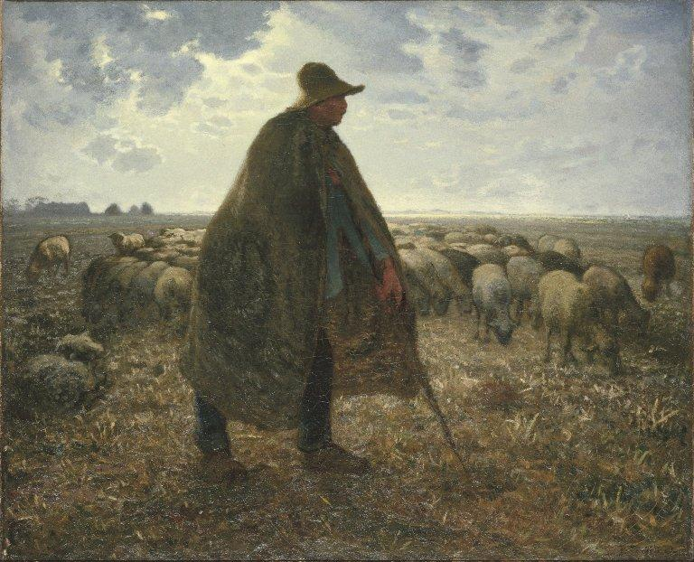 Shepherd Tending His Flock by Jean-François Millet (1814-1875, France) | Famous Paintings Reproductions | WahooArt.com
