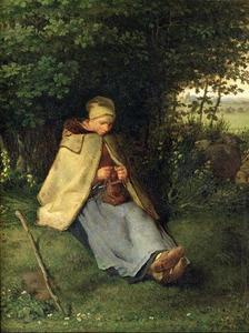 Jean-François Millet - The Knitter, The Seated Shepherdess