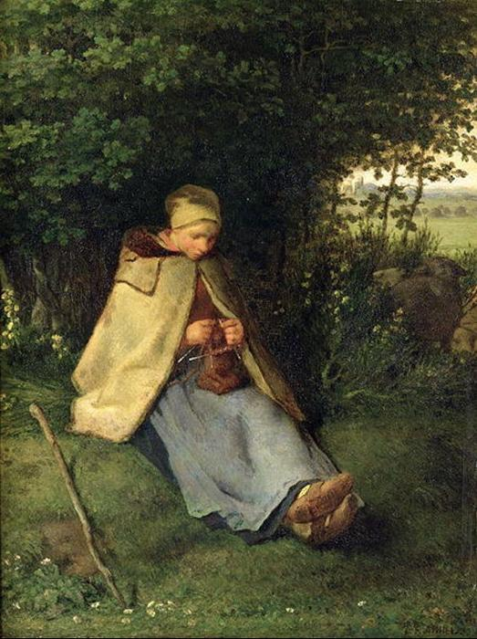 The Knitter, The Seated Shepherdess by Jean-François Millet (1814-1875, France) | Oil Painting | WahooArt.com