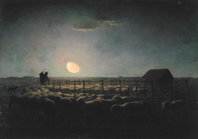 The Sheepfold, Moonlight by Jean-François Millet (1814-1875, France) | Oil Painting | WahooArt.com