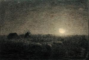 Jean-François Millet - The Shepherd at the Fold by Moonlight
