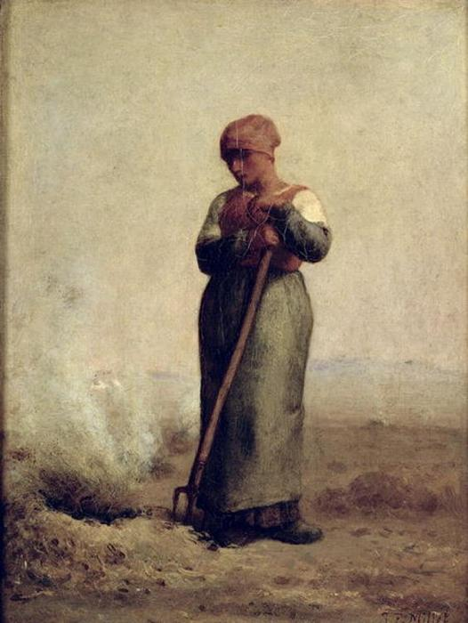 The Stubble Burner by Jean-François Millet (1814-1875, France) | Famous Paintings Reproductions | WahooArt.com
