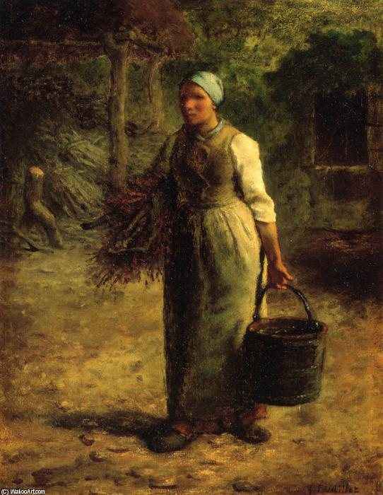Woman Carrying Firewood and a Pail, 1860 by Jean-François Millet (1814-1875, France) | Museum Quality Reproductions | WahooArt.com