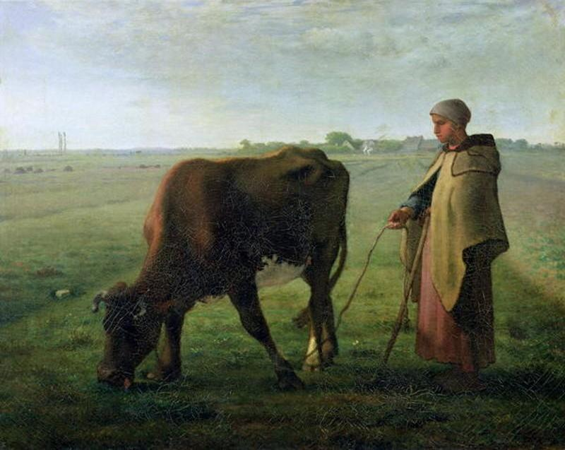 Woman Grazing her Cow by Jean-François Millet (1814-1875, France) | Art Reproduction | WahooArt.com