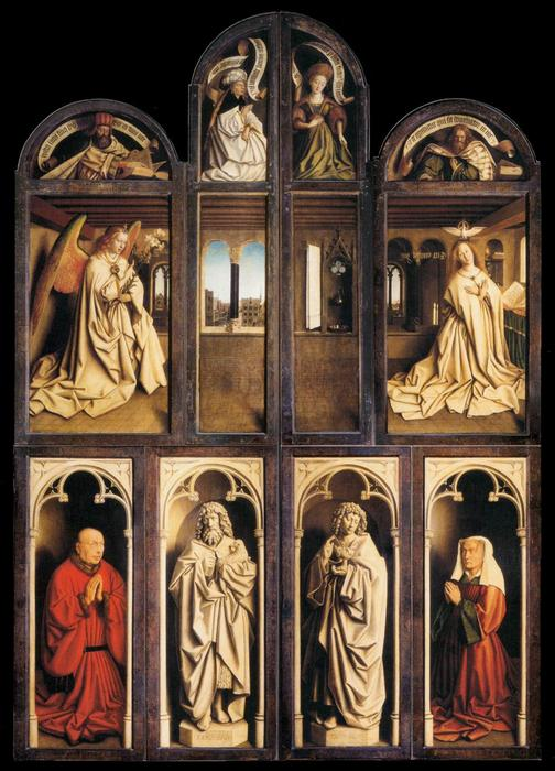 The Ghent Altarpiece (wings closed), Oil by Jan Van Eyck (1390-1441, Netherlands)