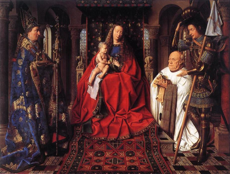 The Madonna with Canon van der Paele, Oil by Jan Van Eyck (1390-1441, Netherlands)