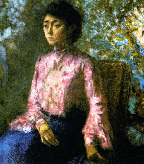 Portrait de Mademoiselle Jeanne Chaîne by Odilon Redon (1840-1916, France) | Famous Paintings Reproductions | WahooArt.com
