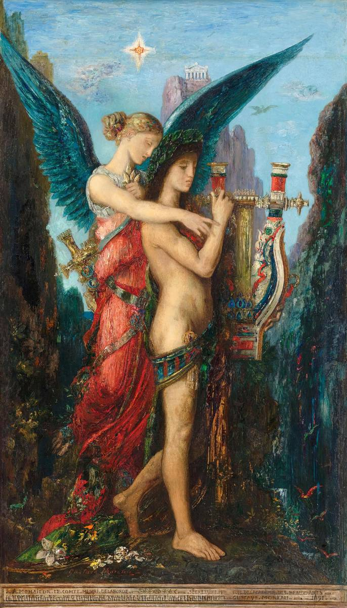 Hesiod and the Muse, Oil by Gustave Moreau (1826-1898, France)