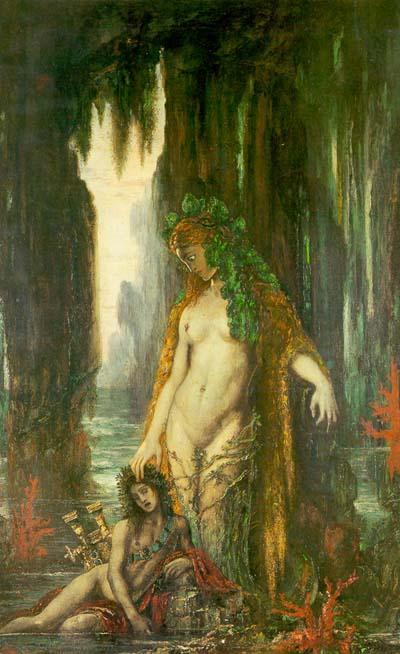 The Poet and the Siren, Oil by Gustave Moreau  (order Fine Art Framed Giclee Gustave Moreau)