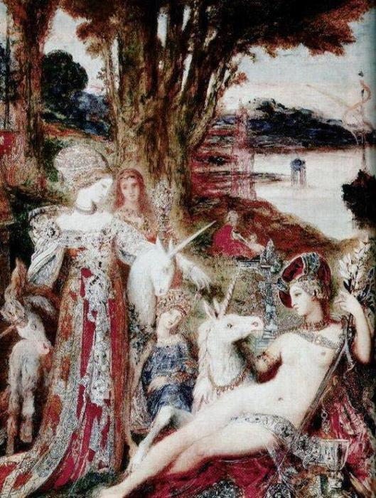 The Unicorns, Oil On Canvas by Gustave Moreau (1826-1898, France)
