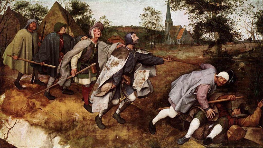 The Parable of the Blind Leading the Blind, Tempera by Pieter Bruegel The Elder (1525-1569, Belgium)
