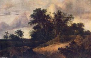 Jacob Isaakszoon Van Ruisdael (Ruysdael) - Landscape with a House in the Grove