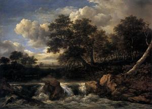 Jacob Isaakszoon Van Ruisdael (Ruysdael) - Landscape with Waterfall1