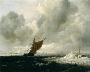 Jacob Isaakszoon Van Ruisdael (Ruysdael) - Stormy Sea with Sailing Boats