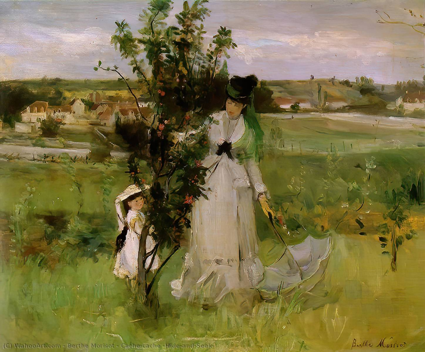 Cache-cache (Hide-and-Seek) by Berthe Morisot (1841-1895, France) | Art Reproduction | WahooArt.com