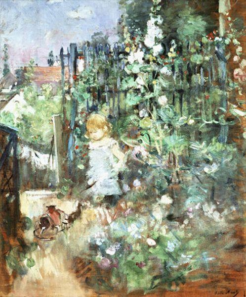 Child among Staked Roses by Berthe Morisot (1841-1895, France) | Museum Quality Copies Berthe Morisot | WahooArt.com