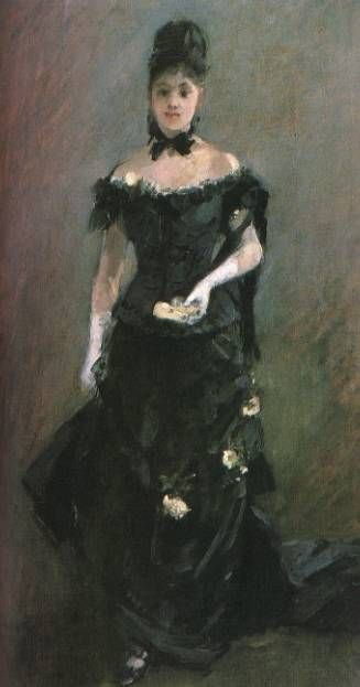 Figure of a Woman (Before the Theater) by Berthe Morisot (1841-1895, France) | Famous Paintings Reproductions | WahooArt.com