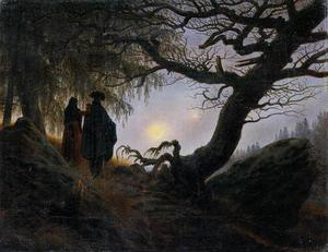 Caspar David Friedrich - Man and Woman Contemplating the Moon - (Famous paintings)