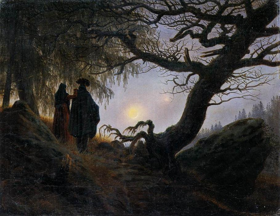 Man and Woman Contemplating the Moon, Oil On Canvas by Caspar David Friedrich (1774-1840, Germany)