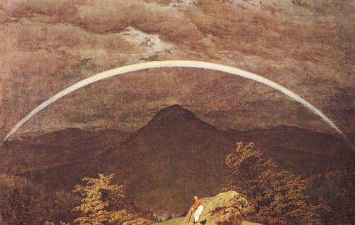 Mountain Landscape with Rainbow, Oil by Caspar David Friedrich (1774-1840, Germany)