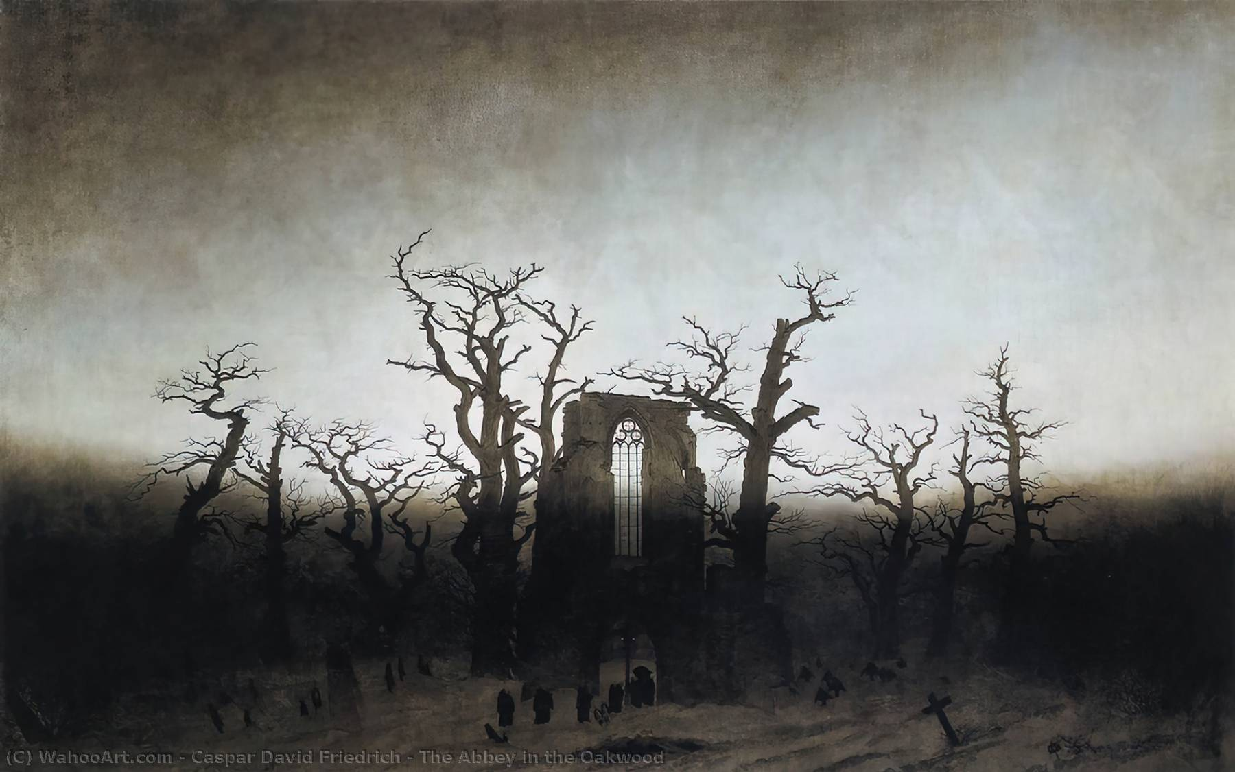 The Abbey in the Oakwood, Oil On Canvas by Caspar David Friedrich (1774-1840, Germany)