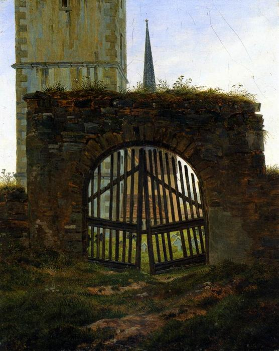 The Cemetery Gate (The Churchyard), 1825 by Caspar David Friedrich (1774-1840, Germany) | Oil Painting | WahooArt.com