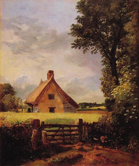 A Cottage in a Cornfield, Oil On Canvas by John Constable (1776-1837, United Kingdom)