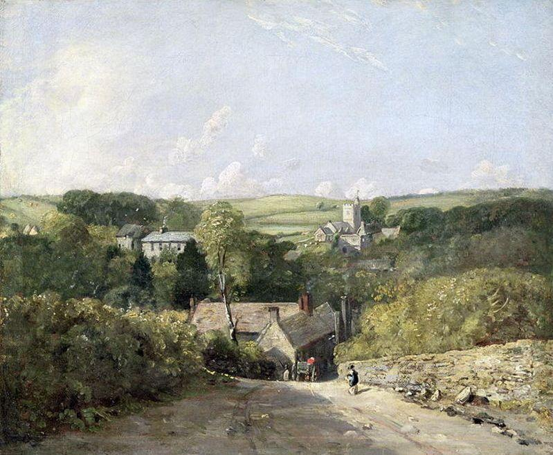 A View of Osmington Village with the Church and Vicarage by John Constable (1776-1837, United Kingdom) | Art Reproductions John Constable | WahooArt.com