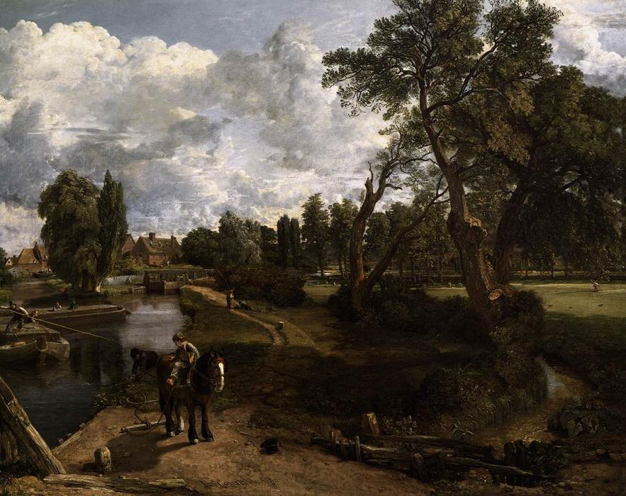 Flatford Mill, 1817 by John Constable (1776-1837, United Kingdom) | Oil Painting | WahooArt.com