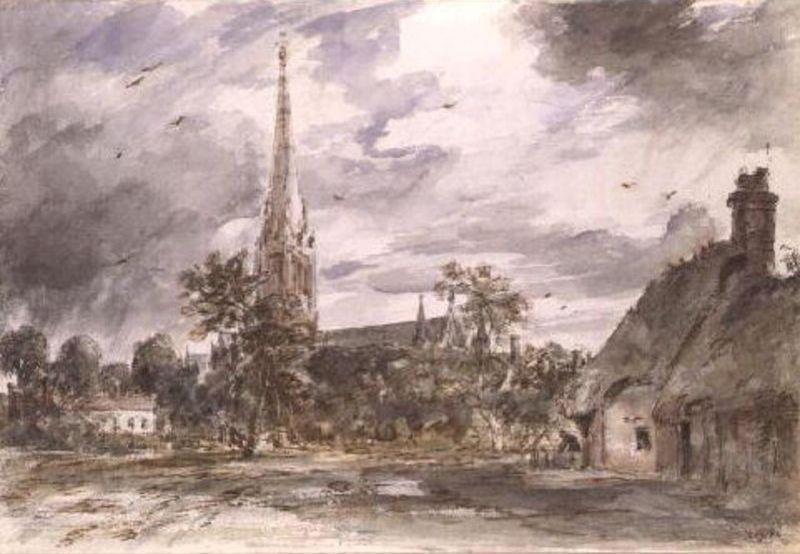 Salisbury Cathedral with cottages by John Constable (1776-1837, United Kingdom) | Museum Quality Copies John Constable | WahooArt.com