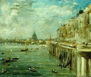 John Constable - Somerset House Terrace and the Thames A View from the North End of Waterloo Bridge with St. Paul-s Cathedral in the distance