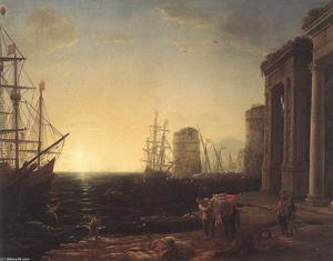 Claude Lorrain (Claude Gellée) - Harbour Scene at Sunset