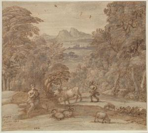 Claude Lorrain (Claude Gellée) - Landscape with Mercury and Apollo as a Shepherd