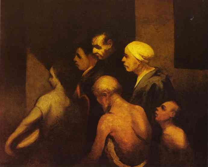 The Beggars, Oil by Honoré Daumier (1808-1879, France)
