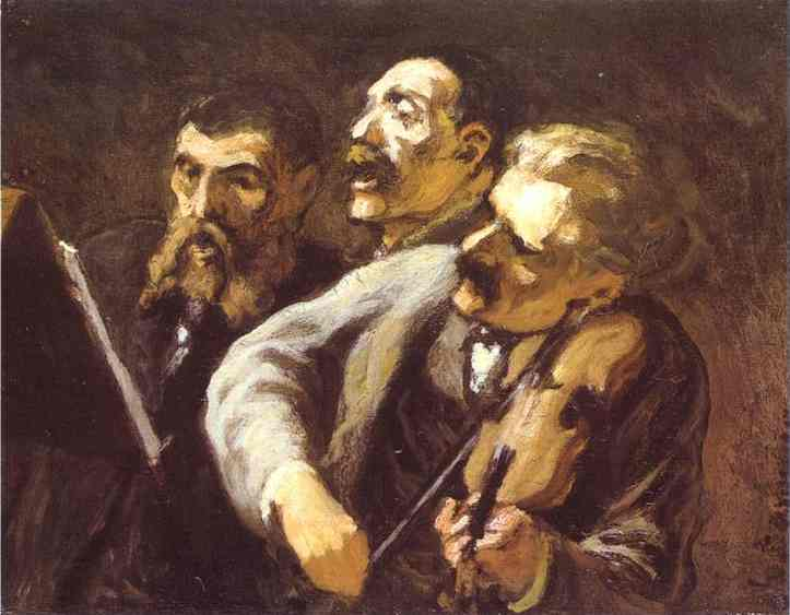Three Amateur Musicians, Oil by Honoré Daumier (1808-1879, France)