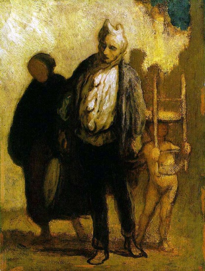 Wandering Saltimbanques, Oil by Honoré Daumier (1808-1879, France)