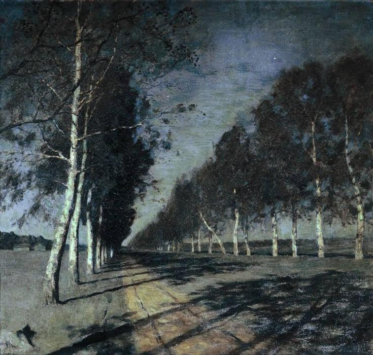 Moonlit Night. A Village., 1888 by Isaak Ilyich Levitan (1860-1900, Russia) | Paintings Reproductions Isaak Ilyich Levitan | WahooArt.com