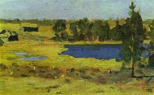 Isaak Ilyich Levitan - The Lake. Barns at the Edge of a Forest