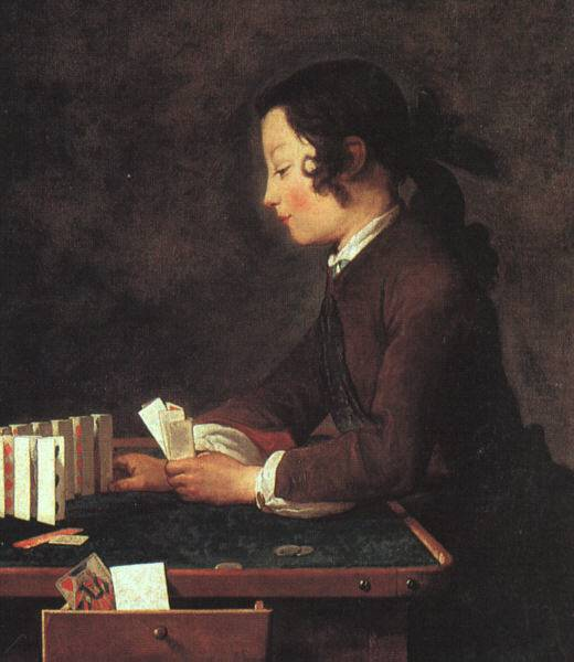 Boy Playing with Cards by Jean-Baptiste Simeon Chardin (1699-1779, France) | Reproductions Jean-Baptiste Simeon Chardin | WahooArt.com