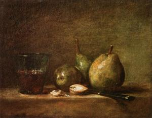 Jean-Baptiste Simeon Chardin - Pears, Walnuts and Glass of Wine