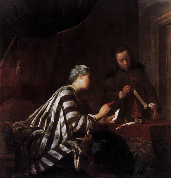 Order Paintings Reproductions | Sealing the Letter by Jean-Baptiste Simeon Chardin (1699-1779, France) | WahooArt.com