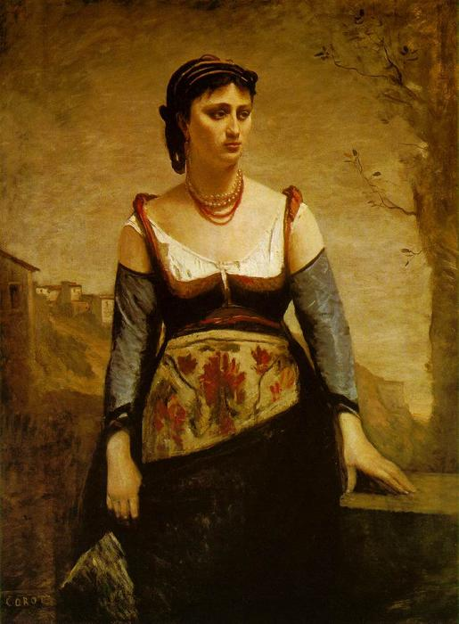 Agostina, Oil by Jean Baptiste Camille Corot (1796-1875, France)