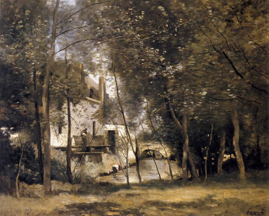 Mill at Saint-Nicolas-les-Arras, Oil by Jean Baptiste Camille Corot (1796-1875, France)