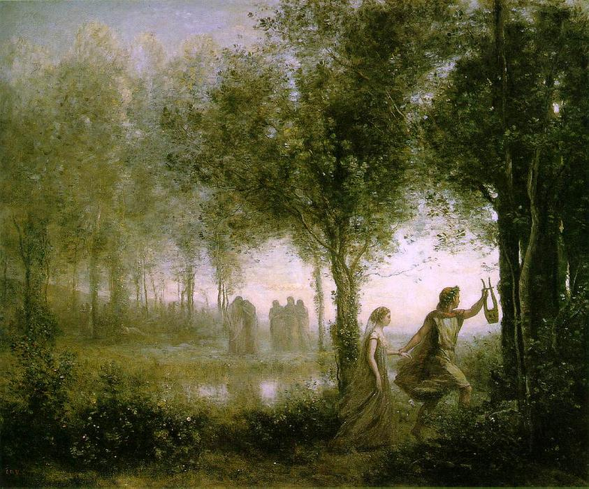 Orpheus Leading Eurydice from da Underworld, Oil by Jean Baptiste Camille Corot (1796-1875, France)