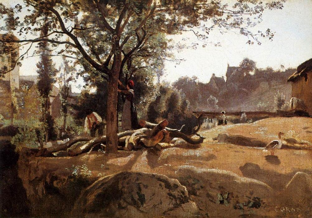 Peasants under the Trees at Dawn, Oil by Jean Baptiste Camille Corot (1796-1875, France)