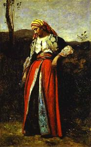 Jean Baptiste Camille Corot - Pensive Woman in Oriental Dress