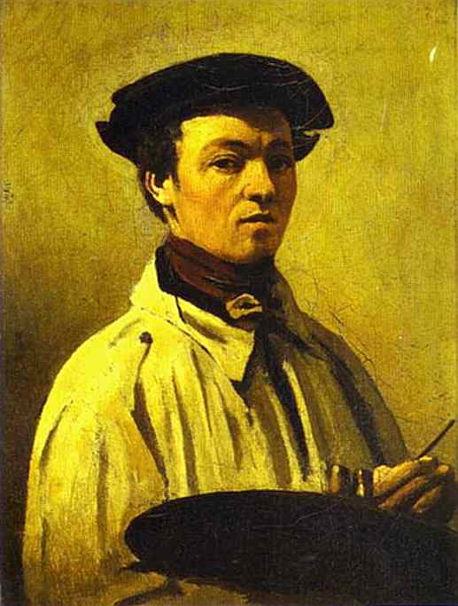 Self-Portrait with Palette in Hand, Oil by Jean Baptiste Camille Corot (1796-1875, France)