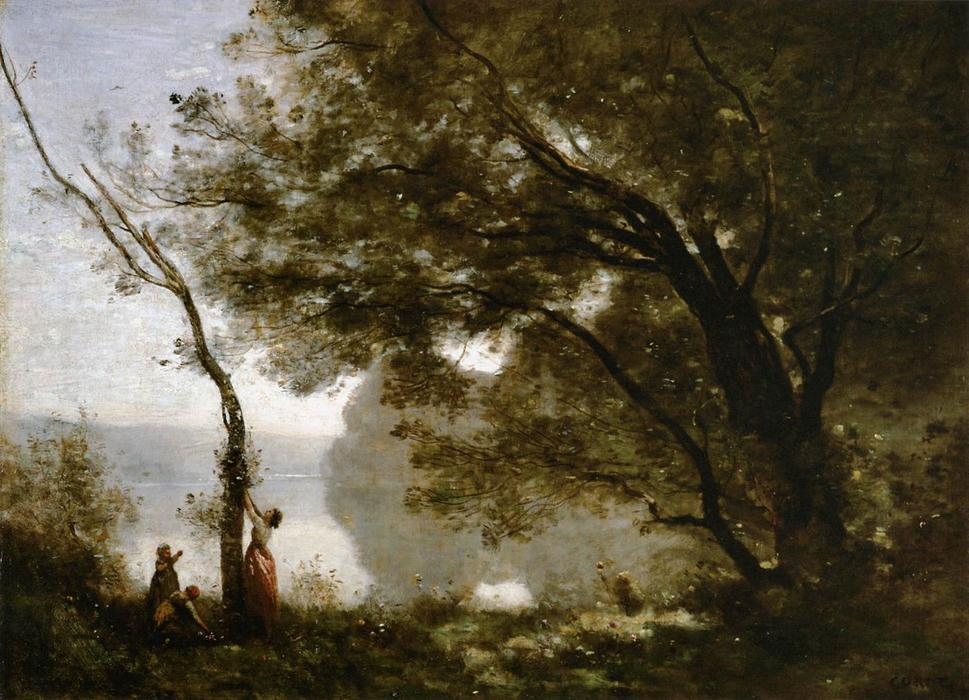 Souvenir of Mortefontaine, Oil by Jean Baptiste Camille Corot (1796-1875, France)